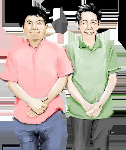 杉本梁江堂の店主のイラスト